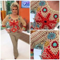Images of blusas croche ana maria - Freeform Crochet, Crochet Art, Crochet Flowers, Crochet Tops, Poncho Tops, Poncho Sweater, Crochet Blouse, Yarn Needle, Clothing Items