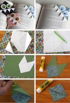 Really fun pin on how to make cute bookmarkers. Visual step by step for all the folding and designing and you can figure out the rest suited to what you want to make for a face! :-) Pin leads to design visual step by step. 书角书签。好看简单易做