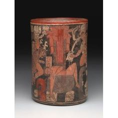 Cylindrical vessel with sacrificial scene, Maya Culture c. Macabre, Aztec, Maya, Objects, Scene, Museum, Plates, Culture, Ceramics