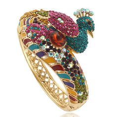 Ever Faith Peacock Bracelet Multicolor Austrian Crystal Gold-Tone Peacock Ring, Peacock Jewelry, Bird Jewelry, Jewelery, Jewelry Accessories, Jewelry Design, Peafowl, Bangles, Cuff Bracelets
