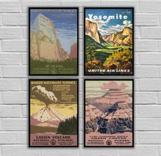 """National Park Poster Set - Vintage Prints - Vintage Set of 4 - Zion National, Yosemite, Lassen National, Grand Canyon 163-165,167 by STANLEYprintHOUSE  48.00 USD  National Park Poster Set - Vintage Prints - Vintage Set of 4 - Zion National, Yosemite, Lassen National, Grand Canyon 163-165,167  This set is available as Prints or Canvas.  ****Prints available in various sizes from 8""""x10"""" - 11""""14""""**** ****Canvas available in various sizes from  8 ..  https://www.etsy.com/ca/listing/464.."""