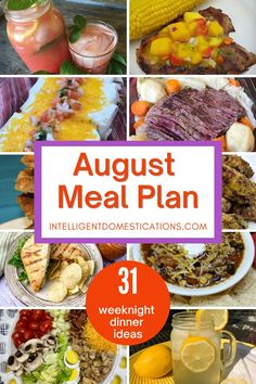 31 Weeknight Dinner ideas for August meal plan. Recipes included. Summer desserts, beverages and peach recipes included. #mealplan Monthly Meal Planning, Menu Planning, Simple Rules, Dinner Recipes, Dinner Ideas, Summer Desserts, Weeknight Meals, Homemaking, Beverages