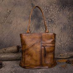 b810ea27b998 Handmade Vegetable Tanned Leather Tote Bag Shoulder Bag Shopper Bag in Vintage  Brown DD103 Discount Designer