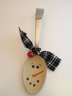 Primitive Snowman Spoon Christmas Ornament by PrimOuthouse on Etsy, $4.00