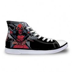 3a0d571c89 Hot Mens High Top Canvas Shoes Classic Men Lace-up Vulcanized Shoes Cool  Super Hero Deadpool Printed High-top Shoes