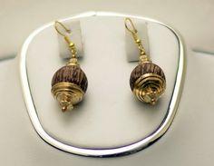 This wooden bead earrings.