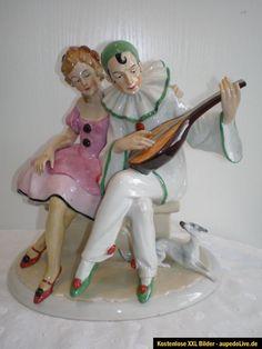 Antique German Art Deco Pierrot Porcelain Figurine