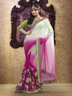 $102.87 Pink Thread and Cut Work Party Wear Saree 22403