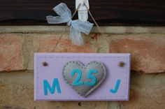 Handmade Anniversary Sign with Felt Heart any initials, number personalised Local Craft Fairs, Mollie Makes, Fairy Land, Home Decor Items, Hand Stitching, Making Out, Color Schemes, Initials, Awards