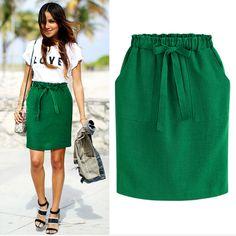 falda corta con bolsas y elastico a la cintura