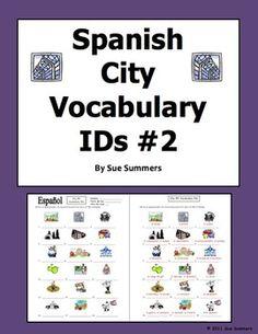 Spanish City 18 Vocabulary IDs Worksheet #2 by Sue Summers - La Ciudad