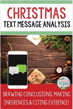 Looking for an engaging but educational activity to do around Christmas? This text message analysis resource is perfect for upper elementary and middle school students who are attached to their smartphones! Your 5th grade, 6th grade, or 7th grade students will analyze Christmas-themed text messages to practice making inferences and drawing conclusions. Click through to get more information and to grab yours! #Christmas #middleschool #readingcomprehension #reading #Englishlanguagearts #ELA