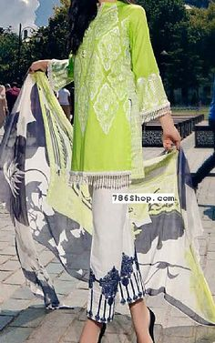 Parrot Green Lawn Suit | Buy Charizma Pakistani Dresses and Clothing online in USA, UK