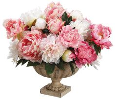 Silk Off White and Pink Peonies Arrangement Centerpiece - Extra Large Urn Faux Home Decor Artificial Roses