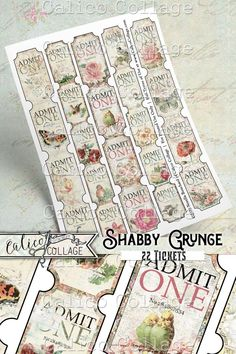 Printable vintage tickets perfect for junk journals, bullet journals, scrapbooking and so much more! Vintage Labels, Vintage Ephemera, Printable Vintage, Free Collage, Digital Collage, Journal Cards, Junk Journal, Journal Ideas, Art Journals
