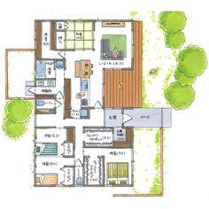 清家修吾さんはInstagramを利用しています:「. 【ボツプラン598】 収納はたっぷり確保されてるし、ゆったりとした平屋でいい感じですね。 土地も150坪ぐらいあるのが羨ましいです(^ ^) . ---------------------------------- 本体価格 : 2032万円 延床面積 :…」 Japanese Style House, Small House Plans, House Layouts, Social Media Design, Ideal Home, Facade, Diy And Crafts, Floor Plans, Sims
