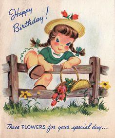 Vintage 1951 Happy Birthday Greetings Card B6 by poshtottydesignz