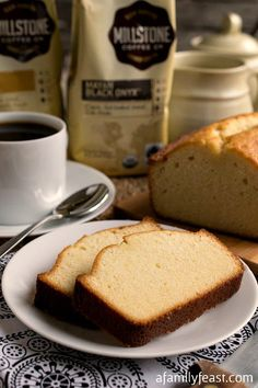 Condensed Milk Pound Cake - A lightly sweet and super moist cake that is perfect for breakfast or dessert - along with some #MillstoneCoffee #sponsored