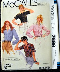 Vintage Sewing Pattern McCall's 7698 80's Misses' Shirts  Size Small Bust 32-34  Complete Uncut FF by GoofingOffSewing on Etsy