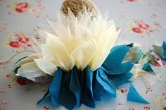 Great tutorial for making tissue and tulle flowers.   Greedy For Colour: Tissue Paper and Tulle Flower Tutorial.