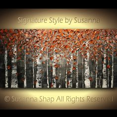 ORIGINAL Large Abstract Birch Trees Painting Impasto Landscape Oil Painting Heavy Textured Modern Palette Knife Painting by Susanna 48x24. $445.00, via Etsy.