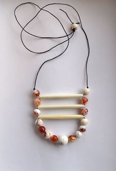 Tribal beaded necklace with faceted amber by AnAstridEndeavor