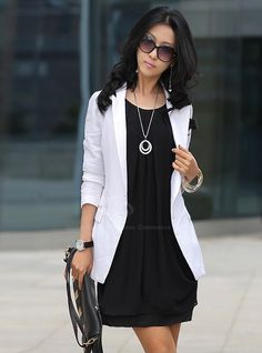 Chiffon Scoop Neck 3/4 Sleeves Fairy Style Solid Color Dress For Women (WHITE,ONE SIZE) | Sammydress.com