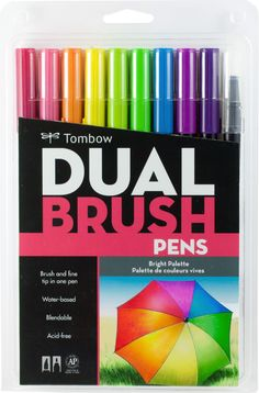 Set of 9 colors with colorless blender pen. Flexible brush tip and fine tip in one marker. Brush tip works like a paintbrush to create fine, medium or bold strokes; fine tip gives consistent lines. Dual Brush Pens are ideal for artists and crafters. The water-based ink is blendable and the resilient nylon brush retains it's point stroke after stroke.
