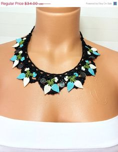 Christmas Gift Free Shipping Choker Crochet Necklace by NinnisGift