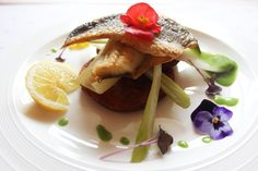 Sea bream fillet on potato cake with fennel and parsley sauce