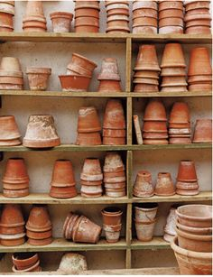 Weathered Terracotta Pots. estapol  (or any left over exteriour paint)  th inside