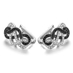GTE3110 S925 Silver CZ White  Black Stones 07 Carats Clipon for Earring Rhodium Plated for Pierced Ears -- Continue reading at the image link.