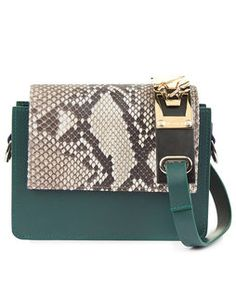 Green Python Leather Shoulder Bag