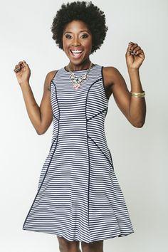 Contrast Binding Stripe Tank Dress