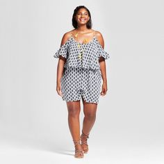 Ava & Viv Women's Plus Size Print Mix Romper Black Floral