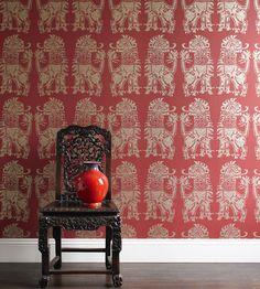 Sicilian Lions Wallpaper by Sanderson Scenic Wallpaper, Lion Wallpaper, Wallpaper Online, Application Pattern, Sicilian, Designer Wallpaper, Red Gold, Contemporary Style
