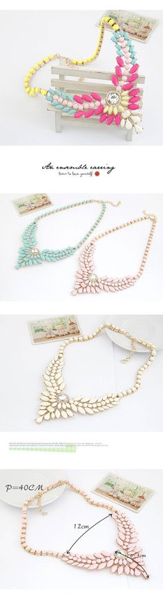 Skate Pink Multilayer Gemstone V Shape Pendant Design Alloy Fashion Necklaces www.asujewelry.com
