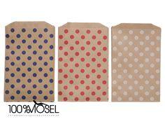 24 Kraftpapiertüten Punkte Mix 3 Farben 12,7 x ...