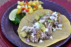 Pulled Chili Pork Tacos with Tomatillo Salsa