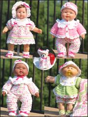 """Crochet doll clothes for 14"""" - 16"""" baby dolls."""