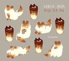 Vanilla Cream Milk Tea Fox // Art by nk-illustrates