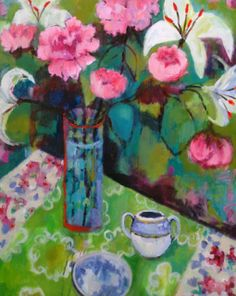 "Daily Painters Abstract Gallery: Contemporary Abstract Still Life Flower Art Painting ""PEONIES WITH GREEN TABLE"" by Santa Fe Artist Annie O'Brien Gonzales"