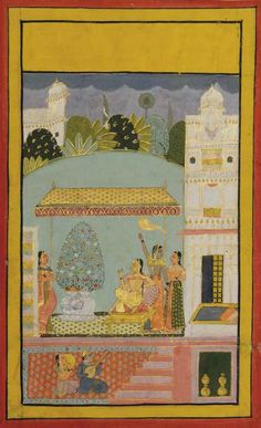 An Illlustration to a Ragamala Series: possibly Gauri Ragini. Opaque pigments heightened with gold on paper, India, Mewar, mid-18th  century, a lady of rank reclines on a bolster, a large flower composition next to her, listening to two musicians, her attendant around