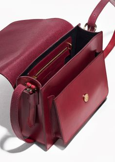 & Other Stories image 2 of Saddle Stitch Leather Shoulder Bag in Plum