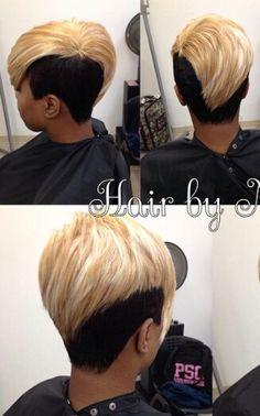 Blonde two tone short haircut #urbanhair