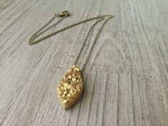 Pyrite Druzy Pendant Necklace by IsabellaRaeJewelry, $30.00