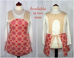 Retro 50s SMOCK APRON  Vintage Paisley in Blush by LauriesGiftsBiz