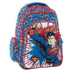 81169bb128 Superman Σχολική Τσάντα Πολυθεσιακή Δημοτικού Superman