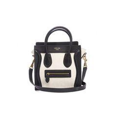 Celine Black Leather and Ivory Canvas Nano Mini Luggage Bag w Strap (13.225 NOK) ❤ liked on Polyvore