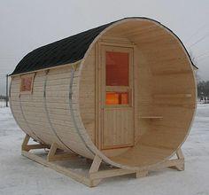 barrel-shaped Finnish sauna (I just wouldn't put it on top of a big hill. LOL!)